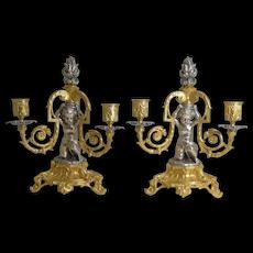 Pair Magnificent French Bronze Three Branch Candlesticks / Candelabra - Cherubs c.1870