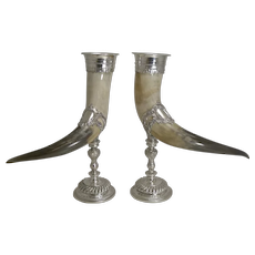 Outstanding Large Pair Horn and Silver Plate Cornucopia c.1900