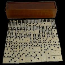 Antique English Boxed Set Bone & Ebony Wood Double Nines Dominoes c.1900