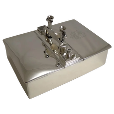 Magnificent Antique English Sterling Silver Cigar Box or Humidor / Cutters / Lighter / Vesta - 1898