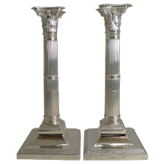 Handsome Pair Antique English Silver Plated Candlesticks by Mappin & Webb c.1890