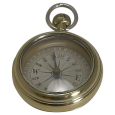 """Antique English Brass and Sterling Silver """"Pocket Watch"""" Compass c.1890"""