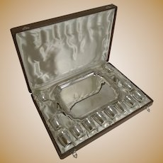 Antique French Boxed Liquor Set / Shot Cups With Tray c.1910
