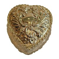 Large Antique Cut Crystal and Sterling Silver Heart Shaped Box - 1903