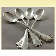 Set of four very heavy German 800 silver tablespoons