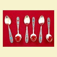 Six Russian 875 silver teaspoons, enameled