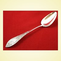 Beautiful and rare southern coin silver serving spoon in medallion pattern by Albrecht, Missouri maker