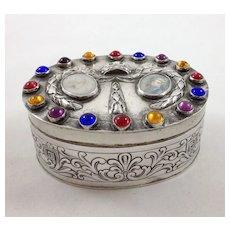 Beautiful German Hanau 800 silver box with jewels and enamel portrait