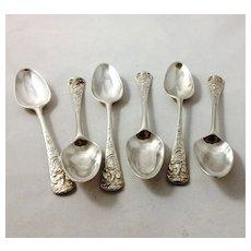 Rare set of six ornate spoons by E. Coker