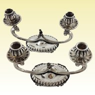 Cute pair of Italian sterling silver candelabras