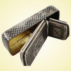 Rare French niello 800 silver snuff box with cigar cutter
