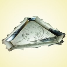 Unusual Russian 875 silver ashtray in Art Nouveau style c. 1914