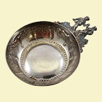 Highly unusual rare French 950 silver wine taster