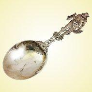Huge 800 silver serving spoon by G. Roth, Hanau