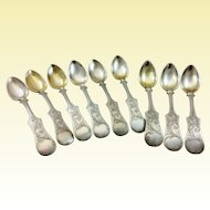 Heavy set of nine Hungarian dessert 750 silver spoons