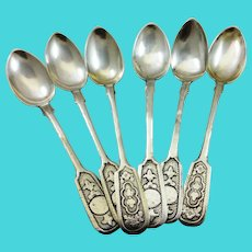 Set of six Russian 875 silver spoons with buildings