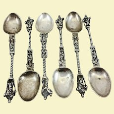 Six silver apostle spoons probably German early 19th century