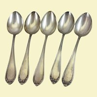 Set of five large German 800 silver tablespoons