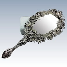 Beautiful 800 silver mirror with cherubs and scenes