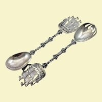 Pair of large Dutch 833 silver salad servers