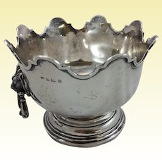 Impressive sterling silver Monteith with lion-shaped handles c. 1907