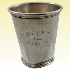 Rare julep coin silver cup by J.B.Akin from Kentucky and P.L.Krider