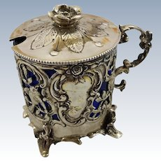 Beautiful German cobalt silver mustard pot