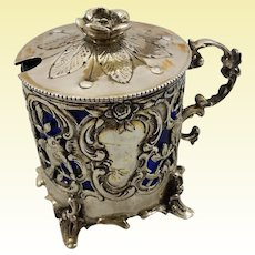 Beautiful German cobalt silver mustard pot