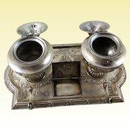 Hanau 800 silver Inkstand by J. Kurz & Co