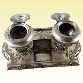 Hanau 800 silver Inkstand by J. Kurz & Co