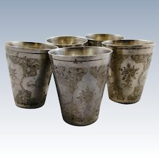 Set of five heavy Persian 875 silver cups