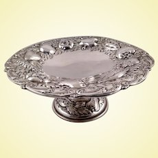 Repousse naturalistic sterling compote by S. Kirk & Son