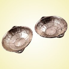 Beautiful Tiffany sterling salt cellars modeled as woven baskets