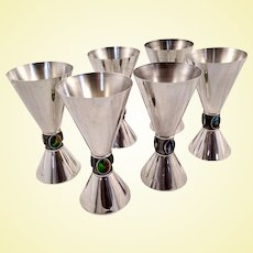 Set of six Spanish 915 silver goblets with gemstones