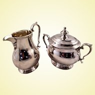 Queen Anne-style sterling silver creamer and sugar, very high quality by Elkington