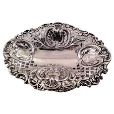 Cute English sterling silver candy basket c. 1900