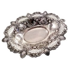 Beautiful reticulated english sterling compote or dish c. 1902