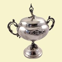 Beautiful 800 silver sugar bowl, fish pedestal, mermaid finial, Italy