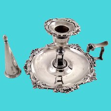 English sterling chamberstick with snuffer, c. 1780