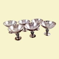 Rare set of six Georg Jensen sterling Cactus goblets