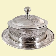 Bamboo butter dish Chinese export silver