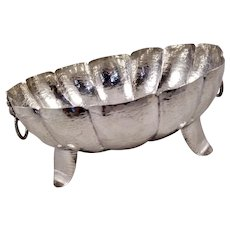 Large 900 silver hand-hammered bowl with lion handles