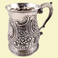 Beautiful English silver mug c. 1752