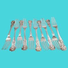 Impressive set of ten coin silver dinner forks in Kings pattern