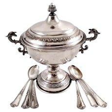 Italian 800 silver sugar bowl & six coffee spoons