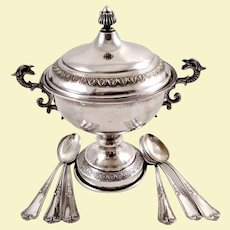 Italian 800 silver sugar bowl & six coffee spoons