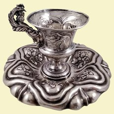 Beautiful 812 silver Austrian cup and saucer set with a rooster handle