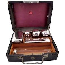 Large traveling set of perfume flagons in an original box