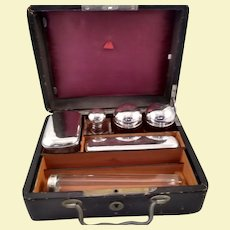 Large traveling set of perfume flagons in an original box