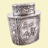 Beautiful Hanau 800 silver tea caddy by JD Schleissner & Sohne
